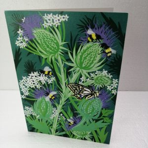 Bees and Butterfly on Thistle greeting card