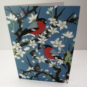 Bullfinches on Blossom Greeting Card