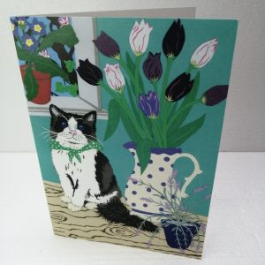 Cat with Tulips greeting card