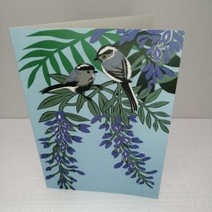 Long Tailed Tits with Wisteria